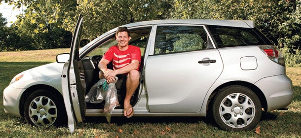Brian Linton keeps it clean with his fuel-efficient 2008 Toyota Matrix.