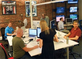 Poll vault: The Wayin team at work.