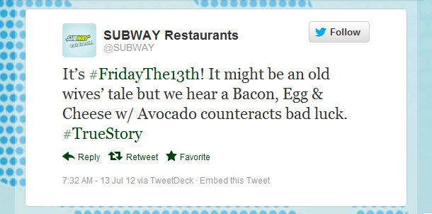 Subway S Tweets Top List