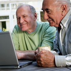Two men checking out FirstLight HomeCare