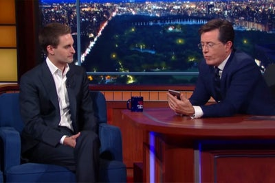 Stephen Colbert Lets the Crazy Questions Fly With Snapchat CEO Evan Sp...