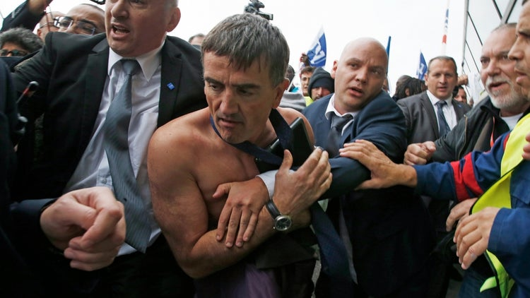 French Officials Not Pleased With Shirt-Ripping Air France Protesters