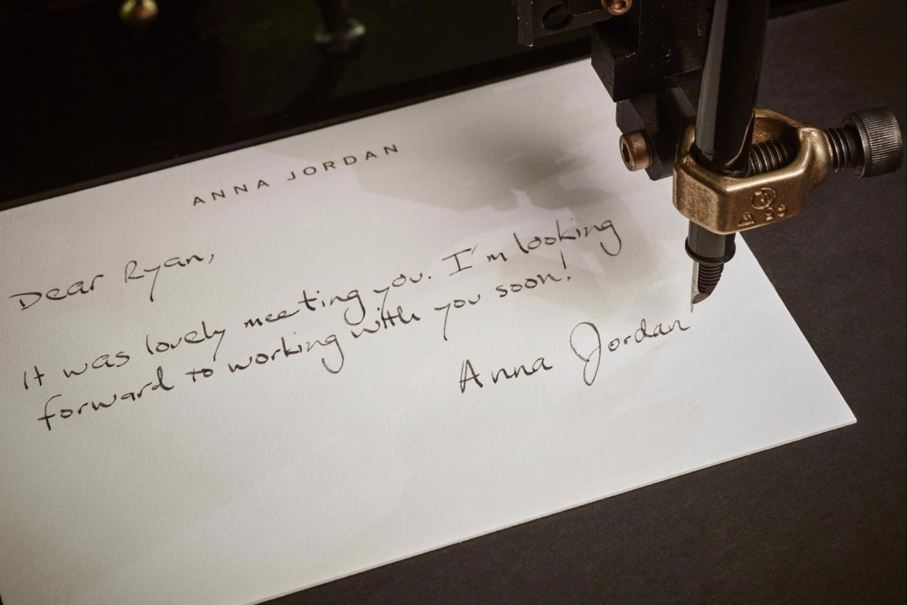 with this startup  a handwritten thank you note is a click