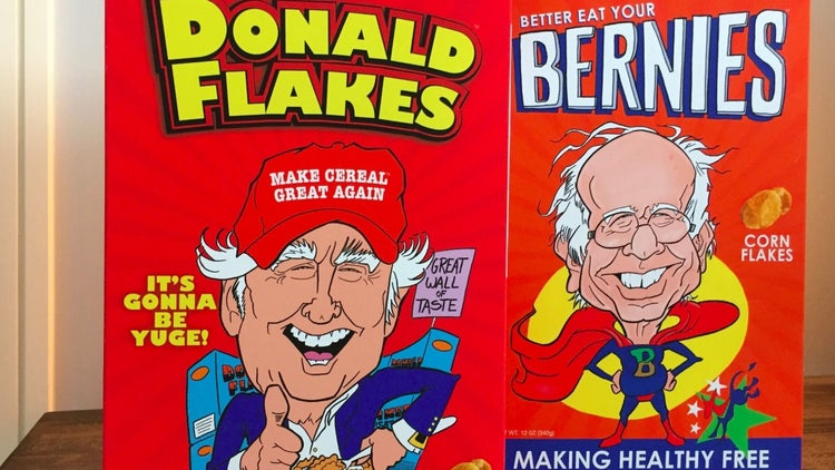 Hungry for 'Donald Flakes' and 'Better Eat Your Bernies'?