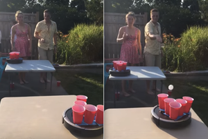 Watch Beer Pong Played With a Roomba