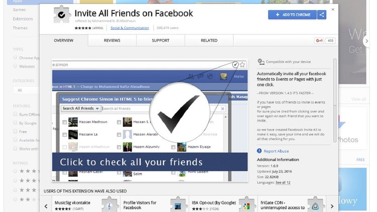 This Extension Let's You Invite All Your Facebook Friends With One Click