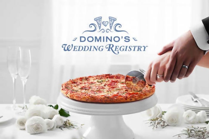 now has a wedding registry because you pizza
