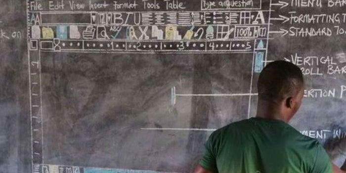 Profesor africano enseña Word a sus alumnos ¡sin computadora!
