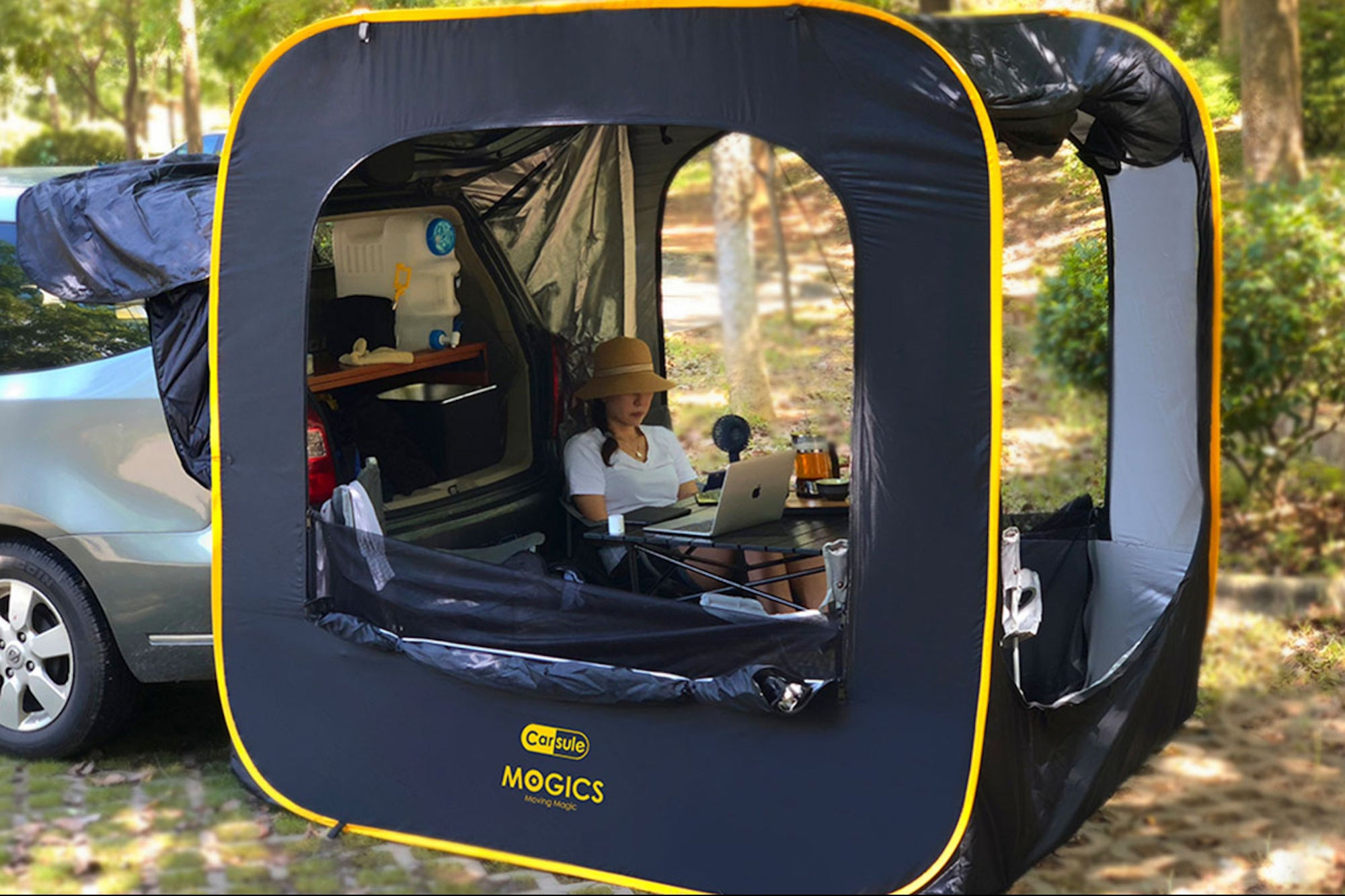 Enjoy the Outdoors and Social Distance With This Ingenious Camping Add-On for Your Car