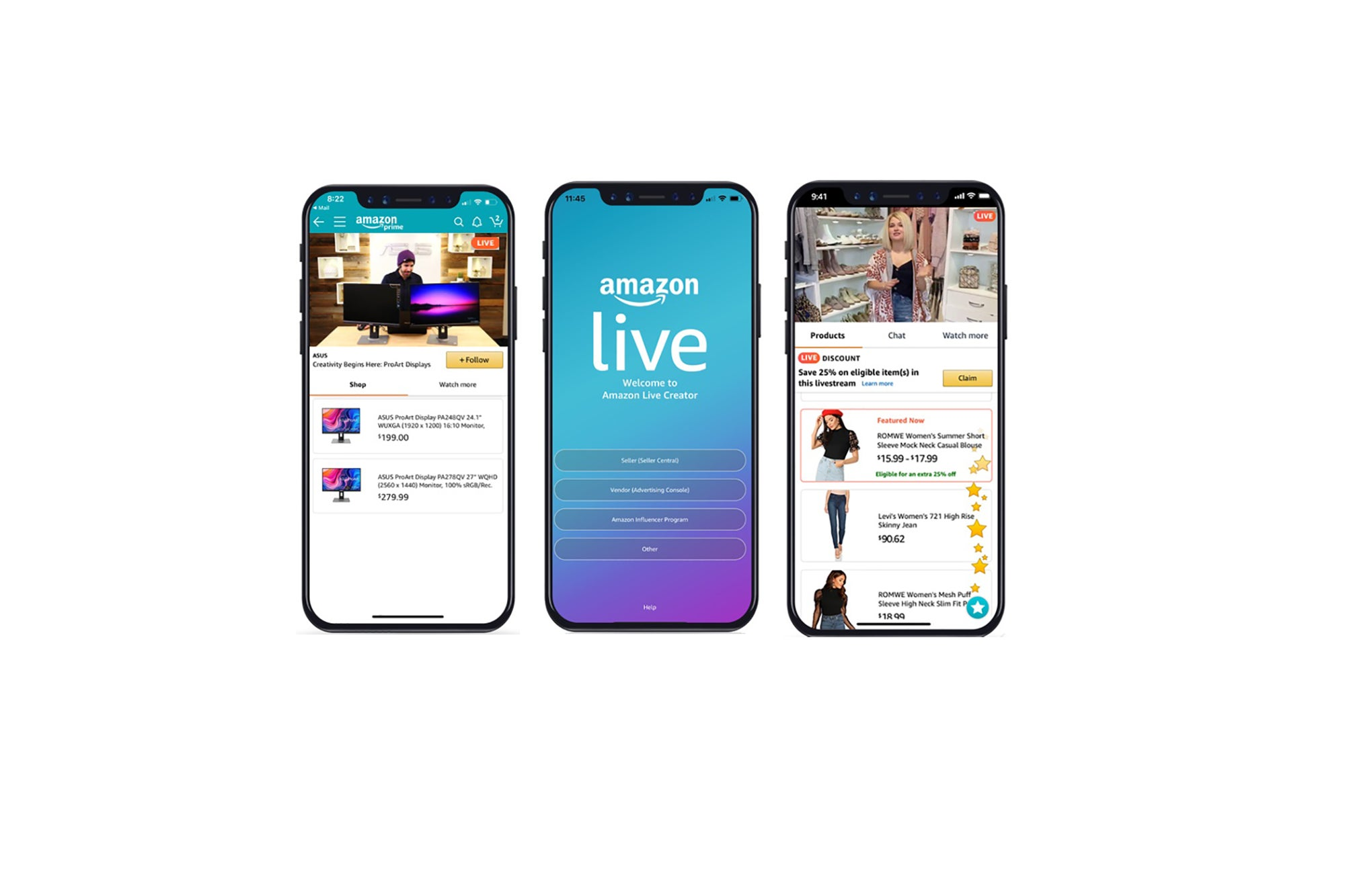 Mobile screens showing the Amazon Live UI with live shoppable video streams and products for purchase integrated into a single-pane view.