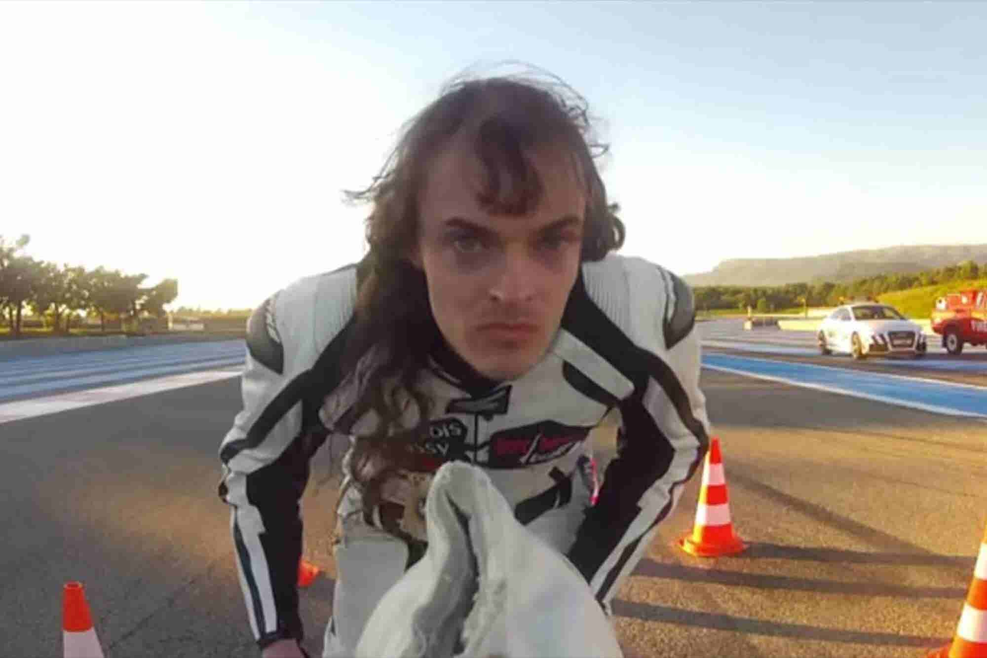 VIDEO: Watch This Fearless Frenchman Laugh in the Face of Death on a Rocket-Powered Bicycle at 207 Miles Per Hour