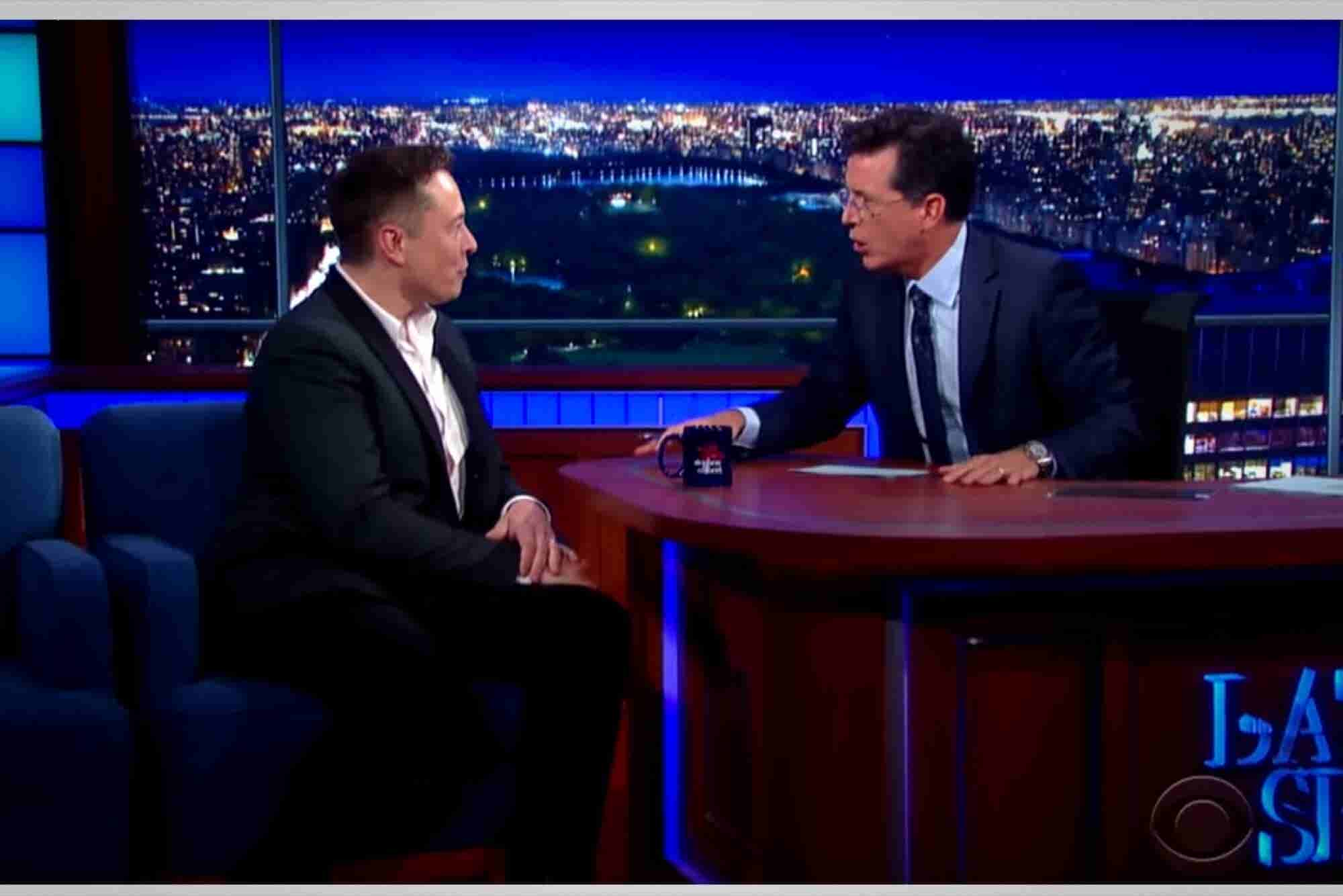 Stephen Colbert Tries to Figure Out if Elon Musk Is a Superhero or Something More Sinister (VIDEO)