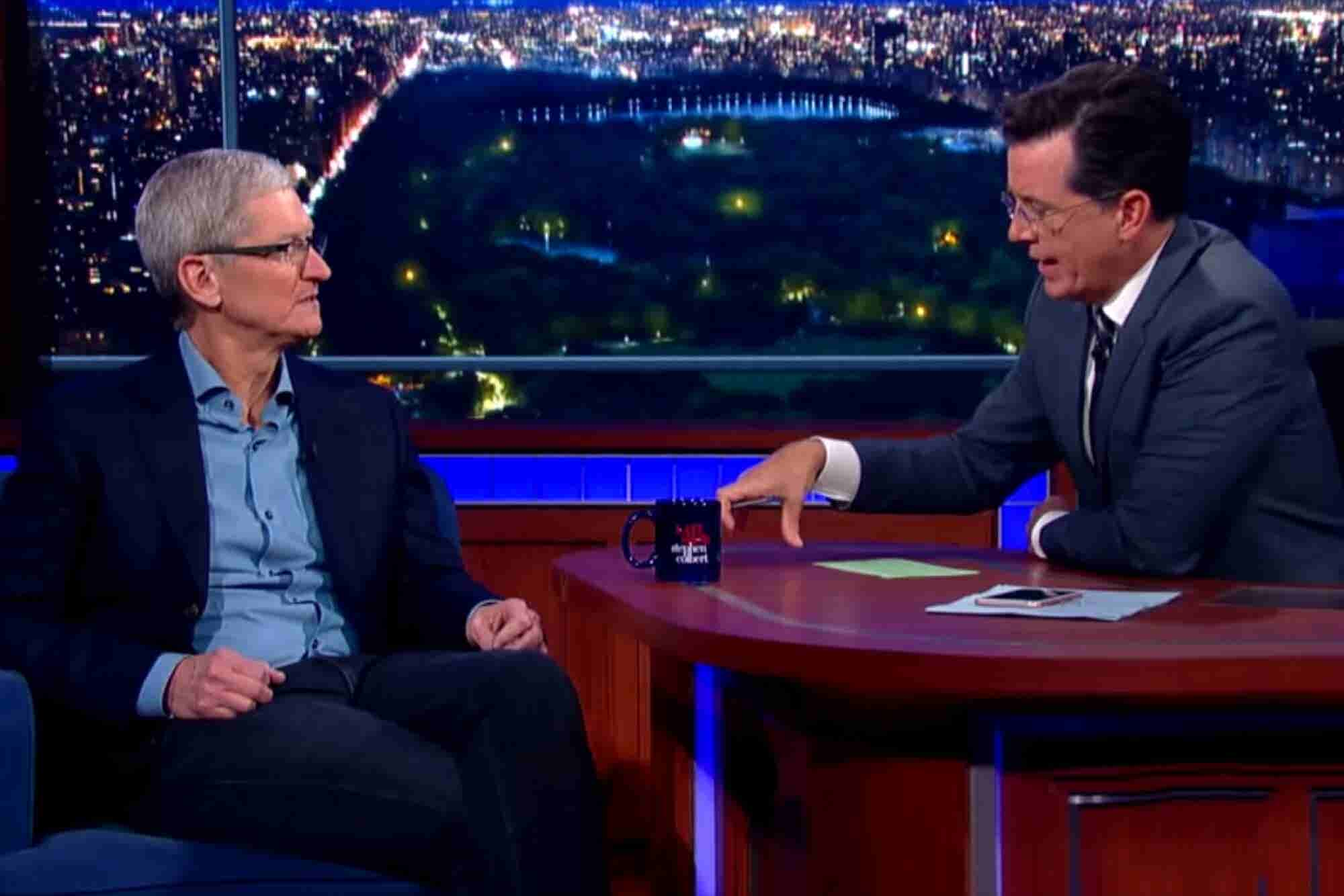 Tim Cook Tells Stephen Colbert He Had a 'Tremendous Responsibility' to Come Out as Gay (VIDEO)