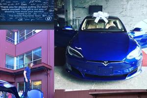 Sus empleados le agradecen con un Tesla de 70 mil dólares
