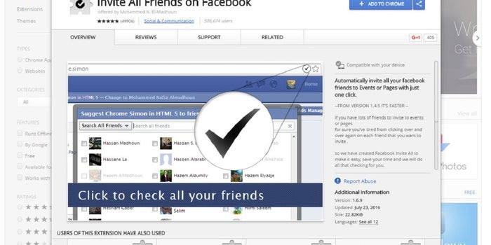 This Extension Let's You Invite All Your Facebook Friends
