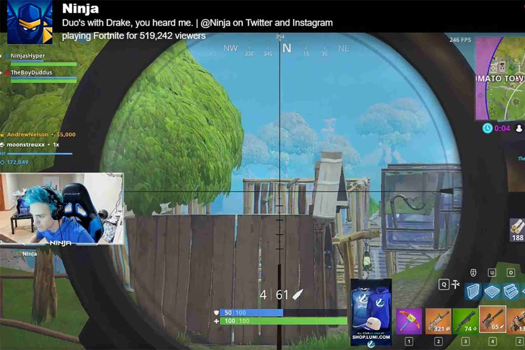 Highly Paid 'Fortnite' Streamer Breaks Twitch Records With Help From Drake