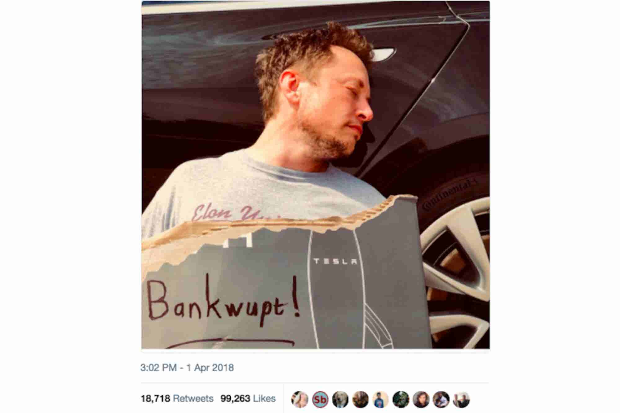 Elon Musk Jokes Tesla Is Bankrupt, and Other Great April Fool's Day Pr...