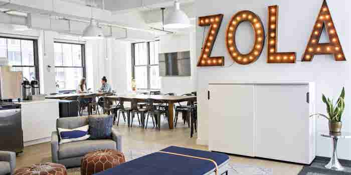Here's How the Office Space for Wedding-Registry Company Zola Keeps Its Employees Engaged With the Brand