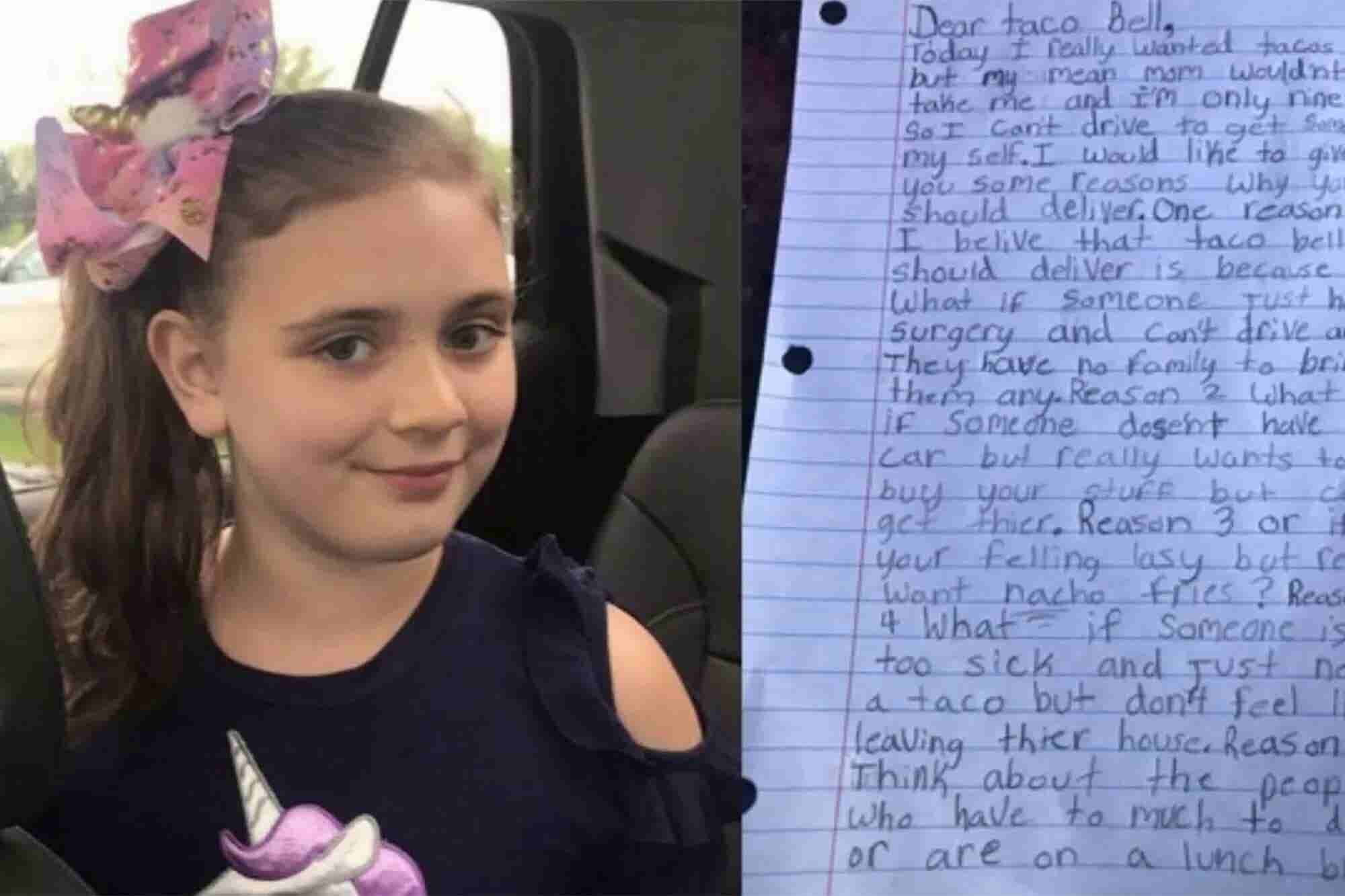 This 9-Year-Old Wrote to Taco Bell Asking Why They Don't Deliver. Now She is Going to Speak at Its Annual Convention.