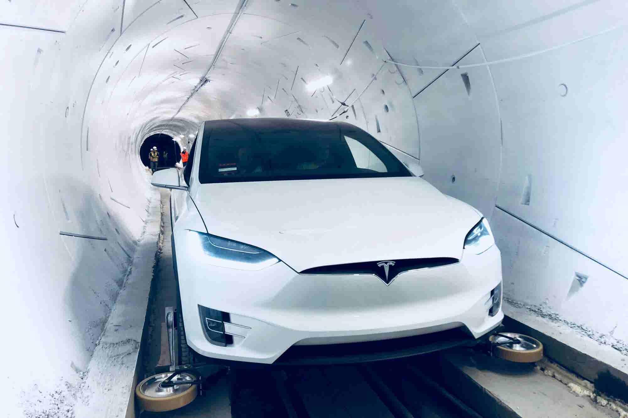 Elon Musk's L.A. Tunnel Turns Teslas Into a 'Rail-Guided Train'