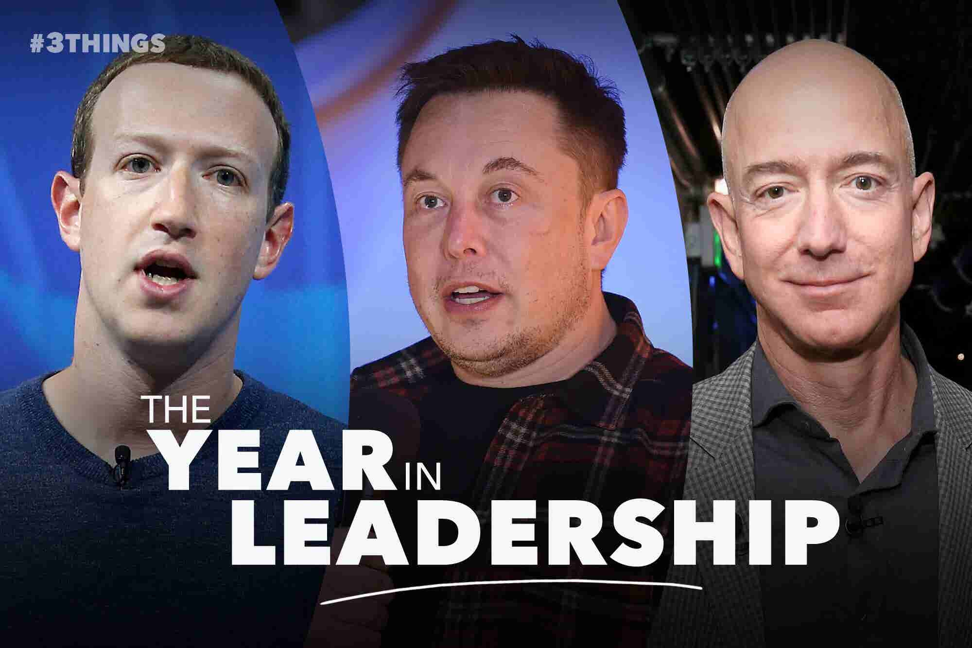 Mark Zuckerberg, Elon Musk and Jeff Bezos: For Each, a Vastly Different 2018 (60 Second Video)