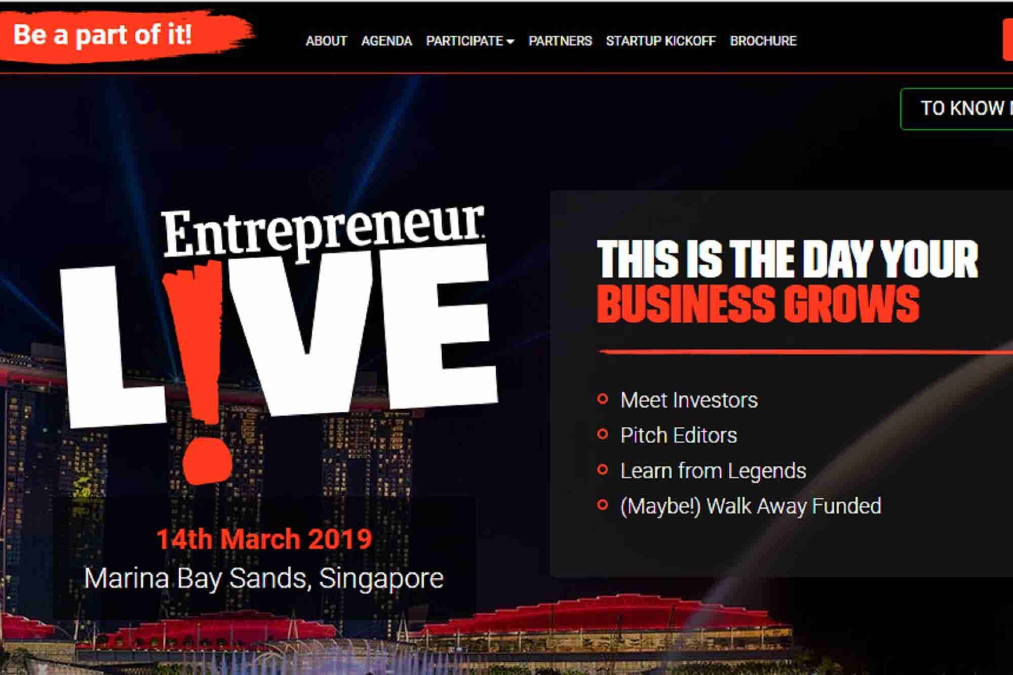 Turn Your Big Idea into a Reality at Entrepreneur LIVE in Singapore