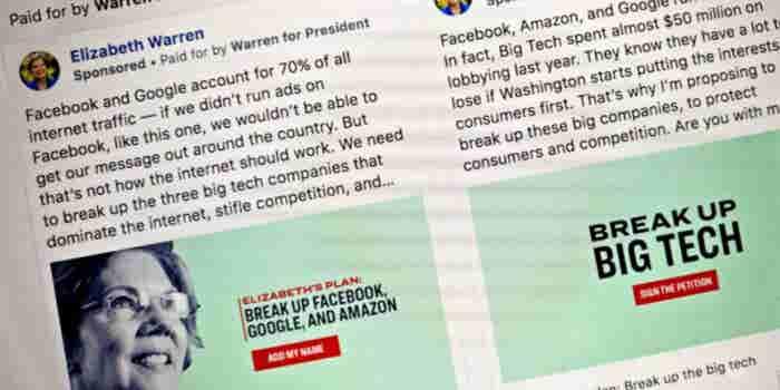 Facebook Pulls Sen. Elizabeth Warren's Ads on Breaking Up Social Network