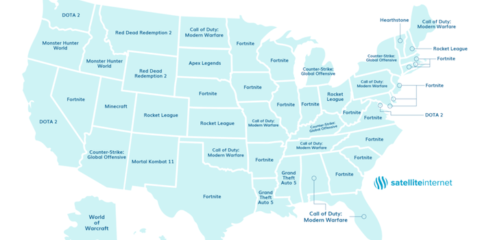 Fortnite Is the United States' Favorite Video Game on 50 states matching game, blank united states map game, map united states government, usa map game, world map game, us states map game, map of states for us teachers, space game, united states and capitals game,