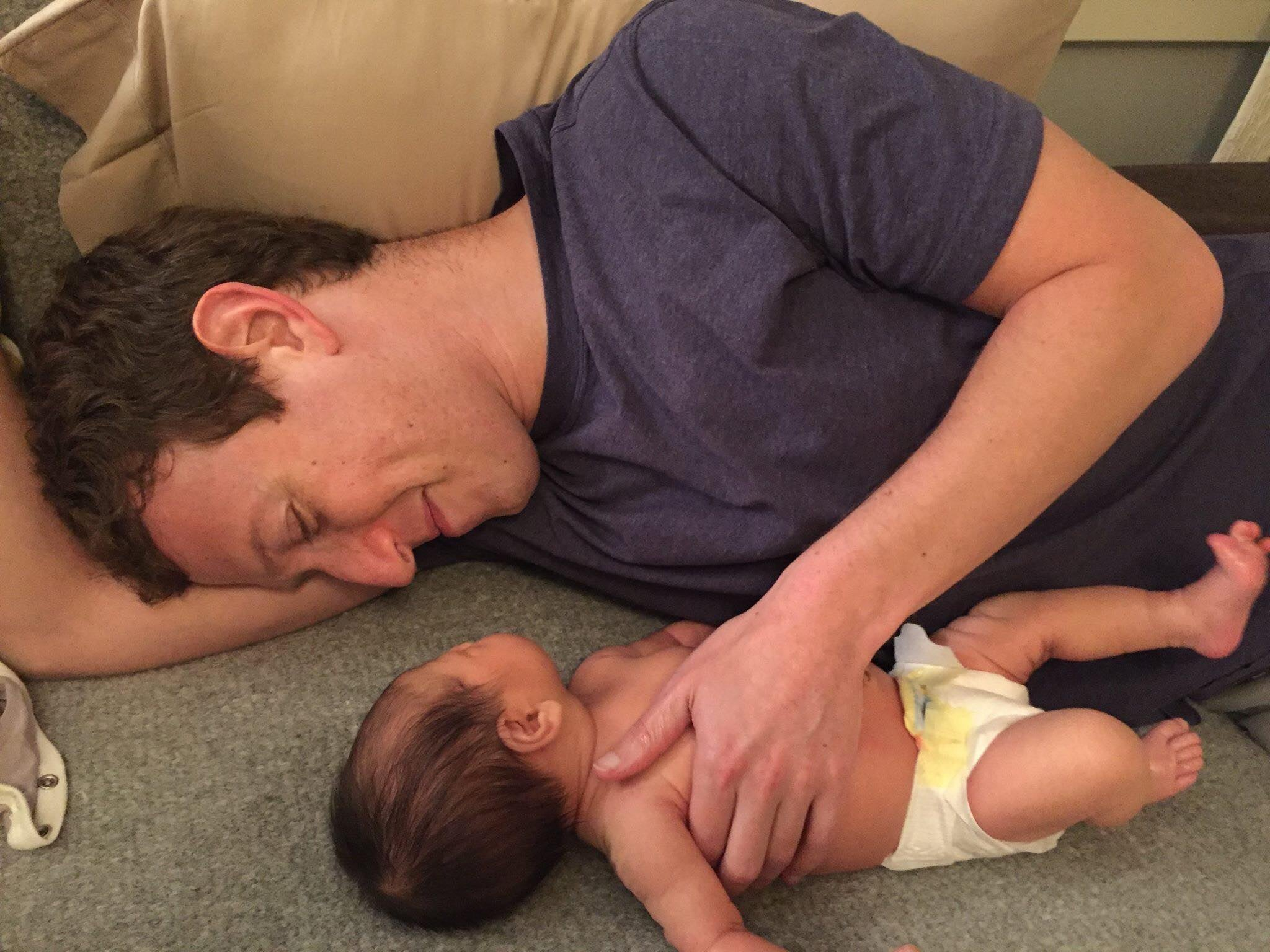 Mark Zuckerberg with his new daughter Max