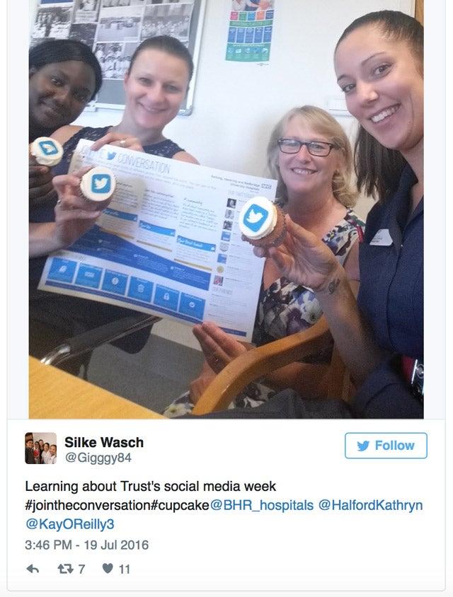 Screenshot of the a tweet by proud @BHR_hospitals employee Silke Wasch