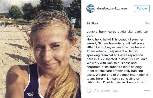 Screenshot of an Instagram post by Danse Bank Careers