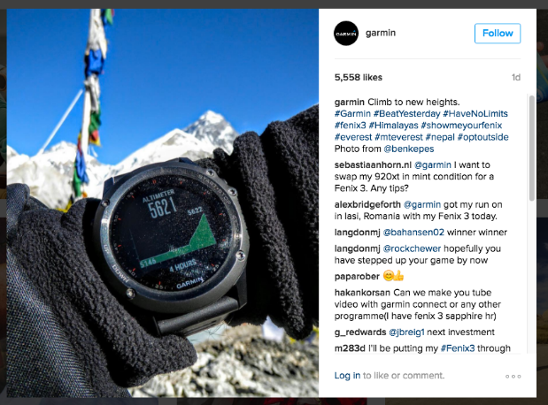 Garmin Instagram example