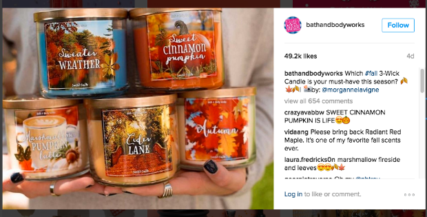 Bath and Body Works Instagram example