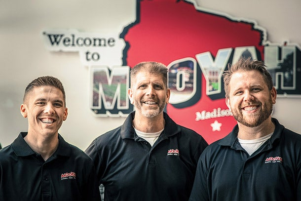 From left: Lucas, Randy, and Josh Bergeson of Mooyah Burgers.
