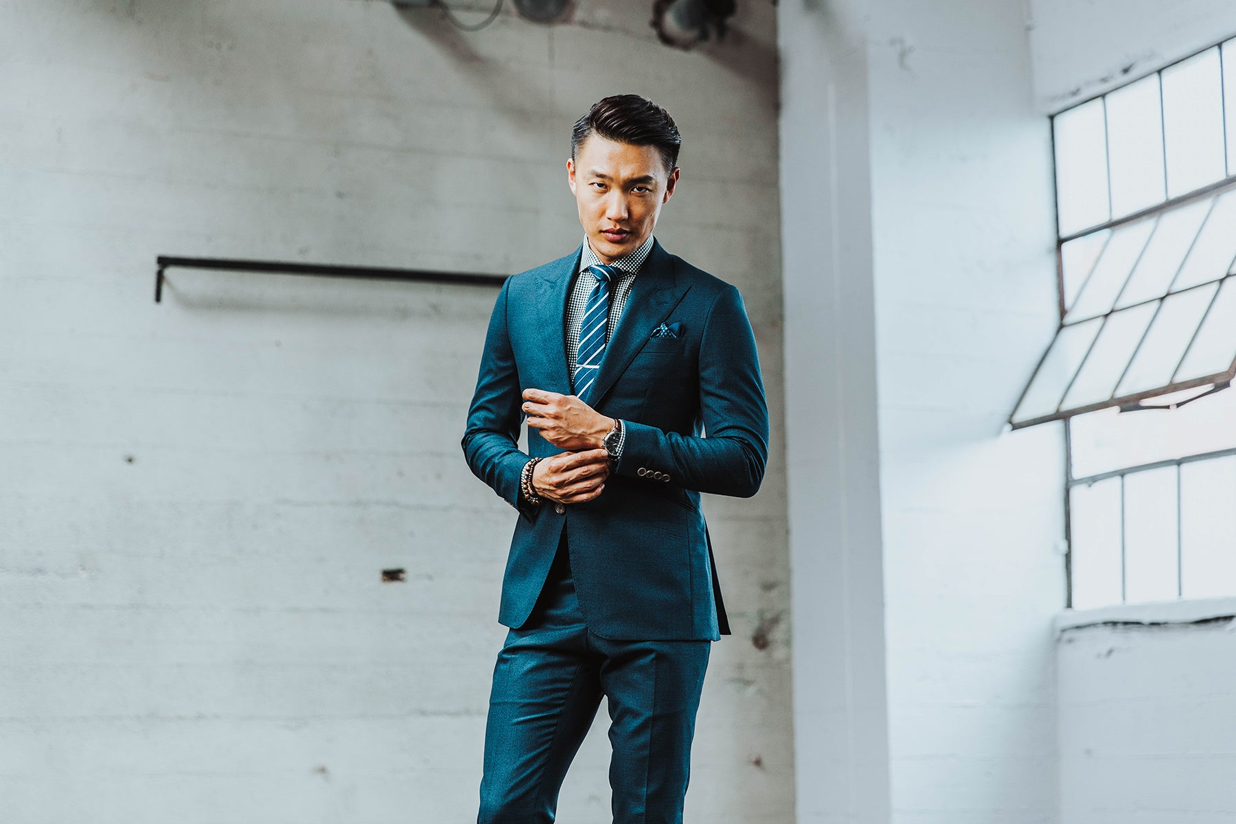Flecked deep teal suit from INDOCHINO