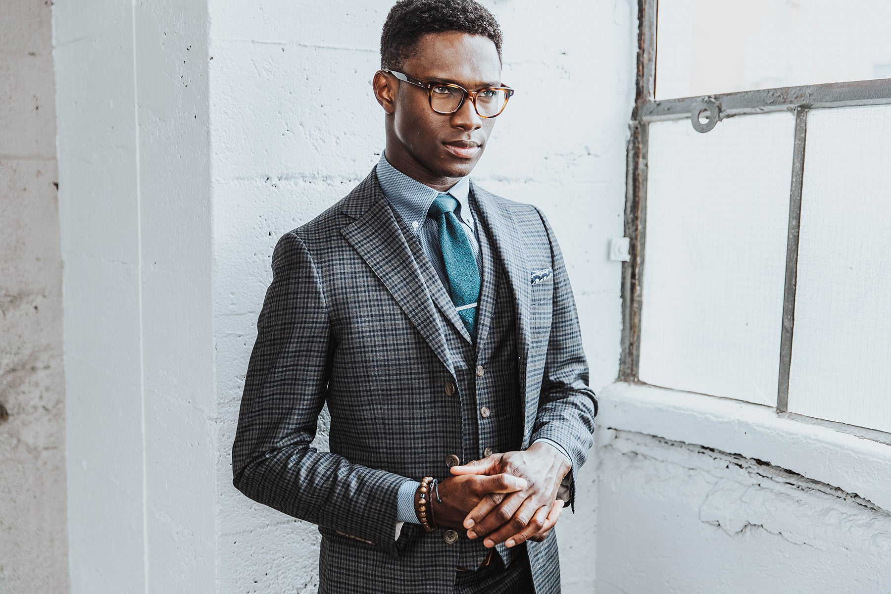 Warm grey check suit from INDOCHINO
