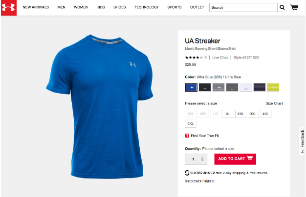 Blue UA Running Shirt