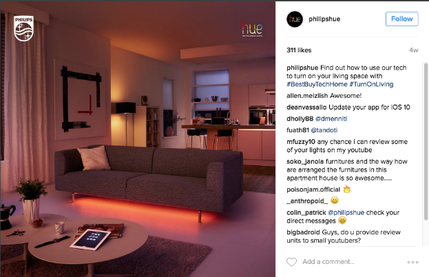 Phillips Hue Instagram Post