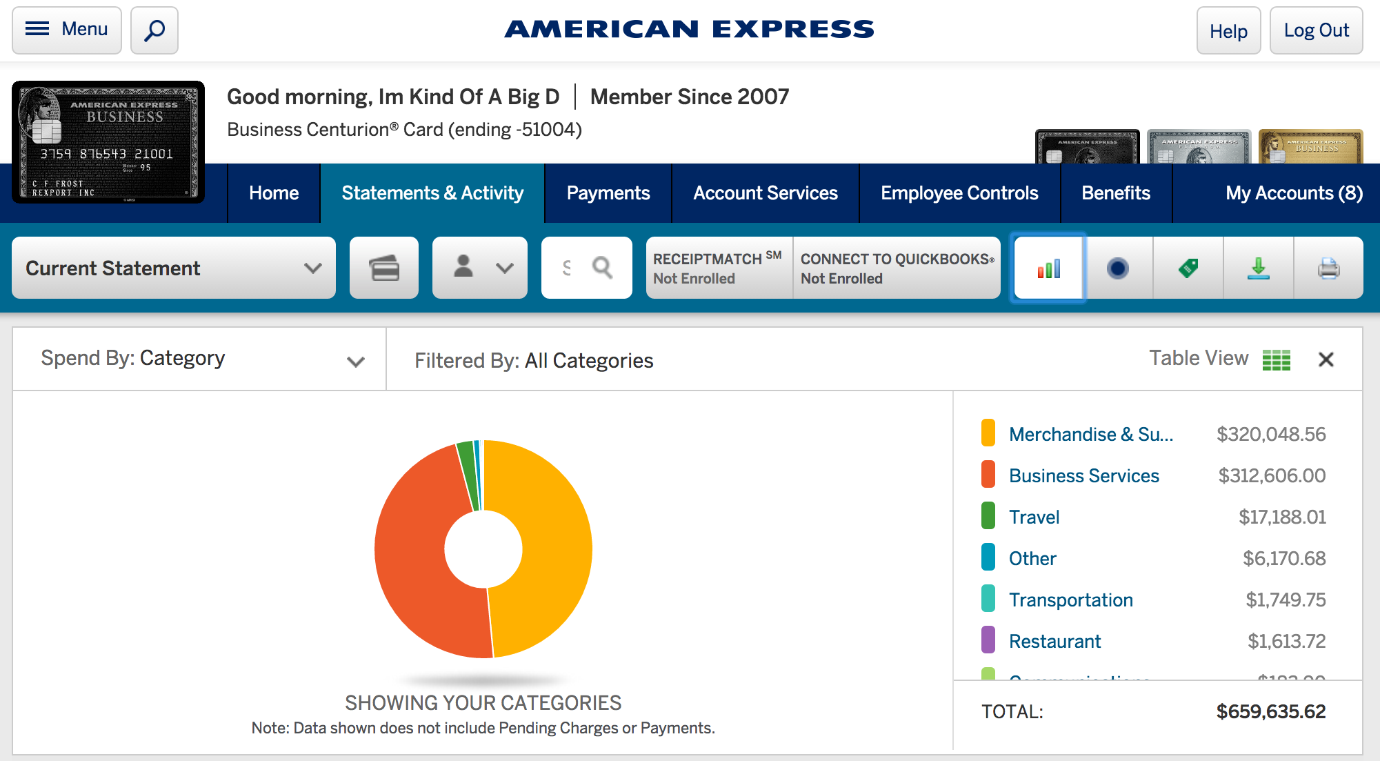 here is my recent credit card statement - American Express Business Credit Card