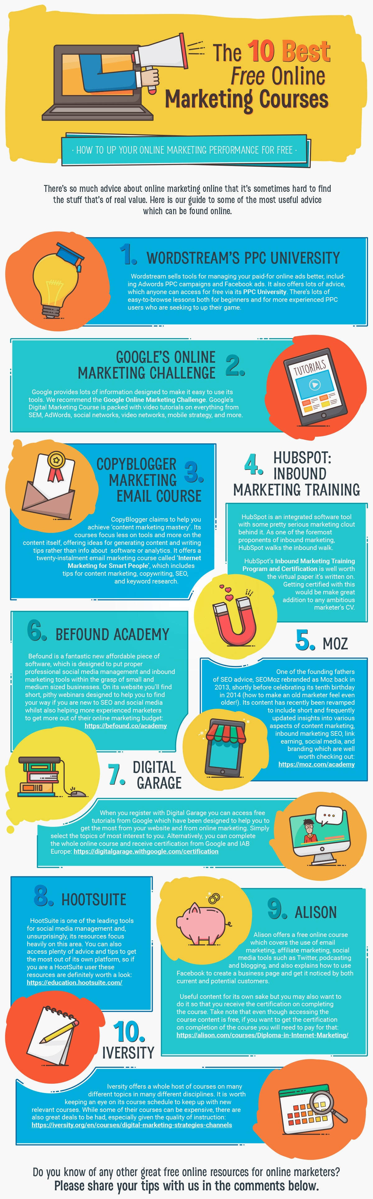 10 Free Online Marketing Courses to Try Today (Infographic)