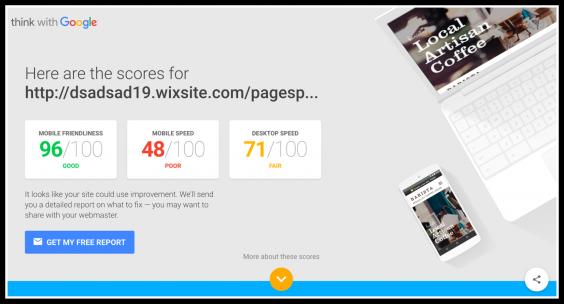 wix on googlespeed test