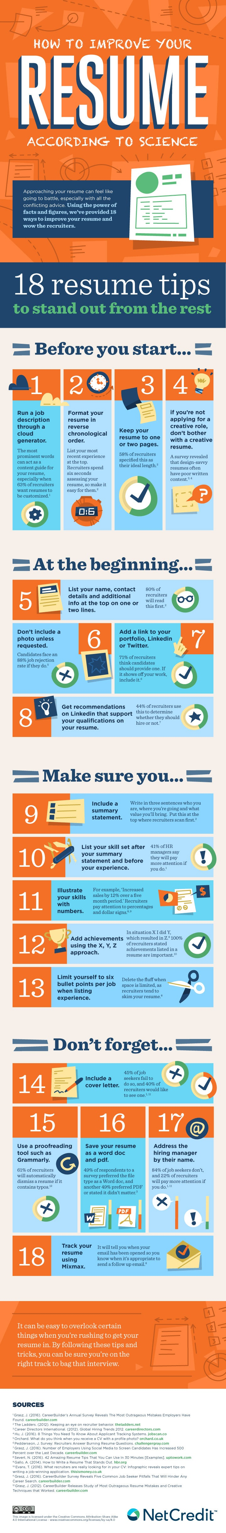 resume Improve Resume 18 ways to improve your resume infographic check out net credits below for tips resume