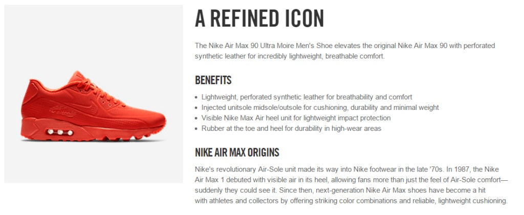 Nike product description showing a red sneaker