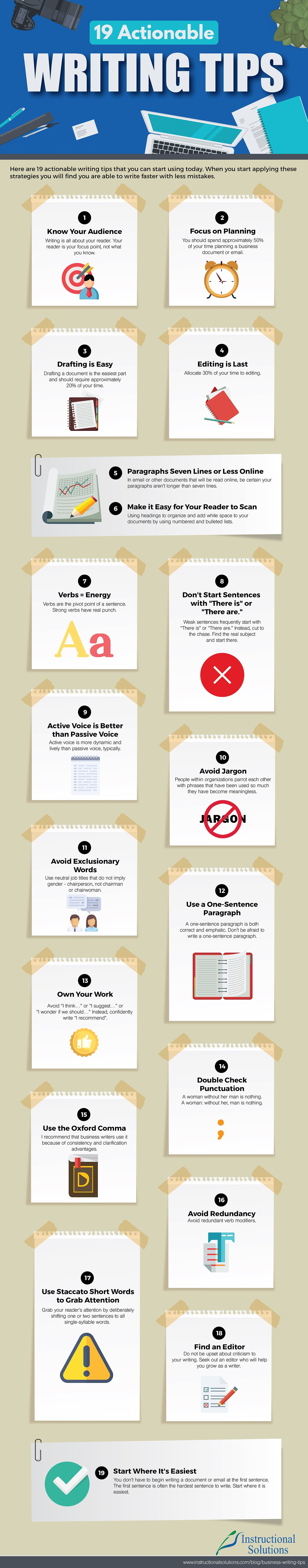 19 Tips to Immediately Improve Your Writing (Infographic)