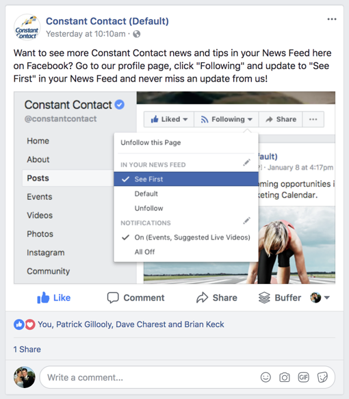 Constant Contact Facebook post