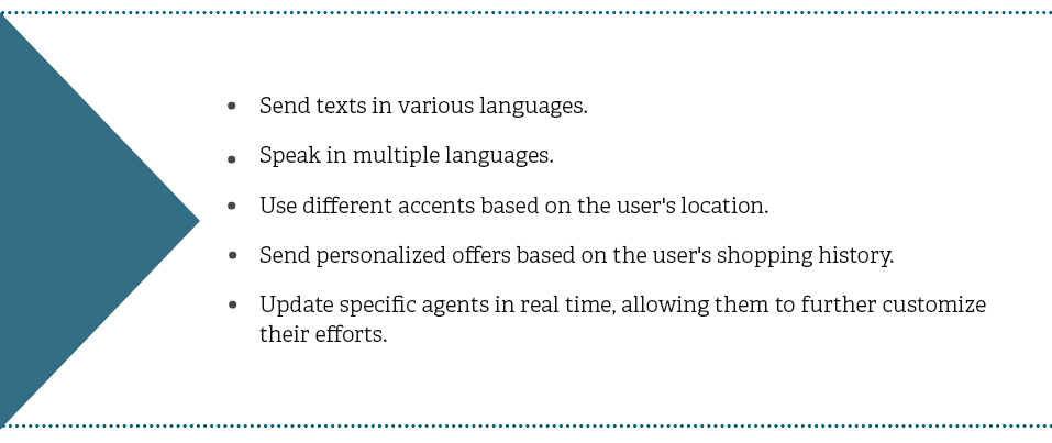 Send texts in various languages. Speak in multiple languages. Use different accents based on the users location. Send personalized offers based on the users shopping history. Update specific agents in real time, allowing them to further customize their efforts.
