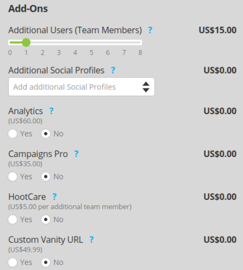 hootsuite price plan screenshot