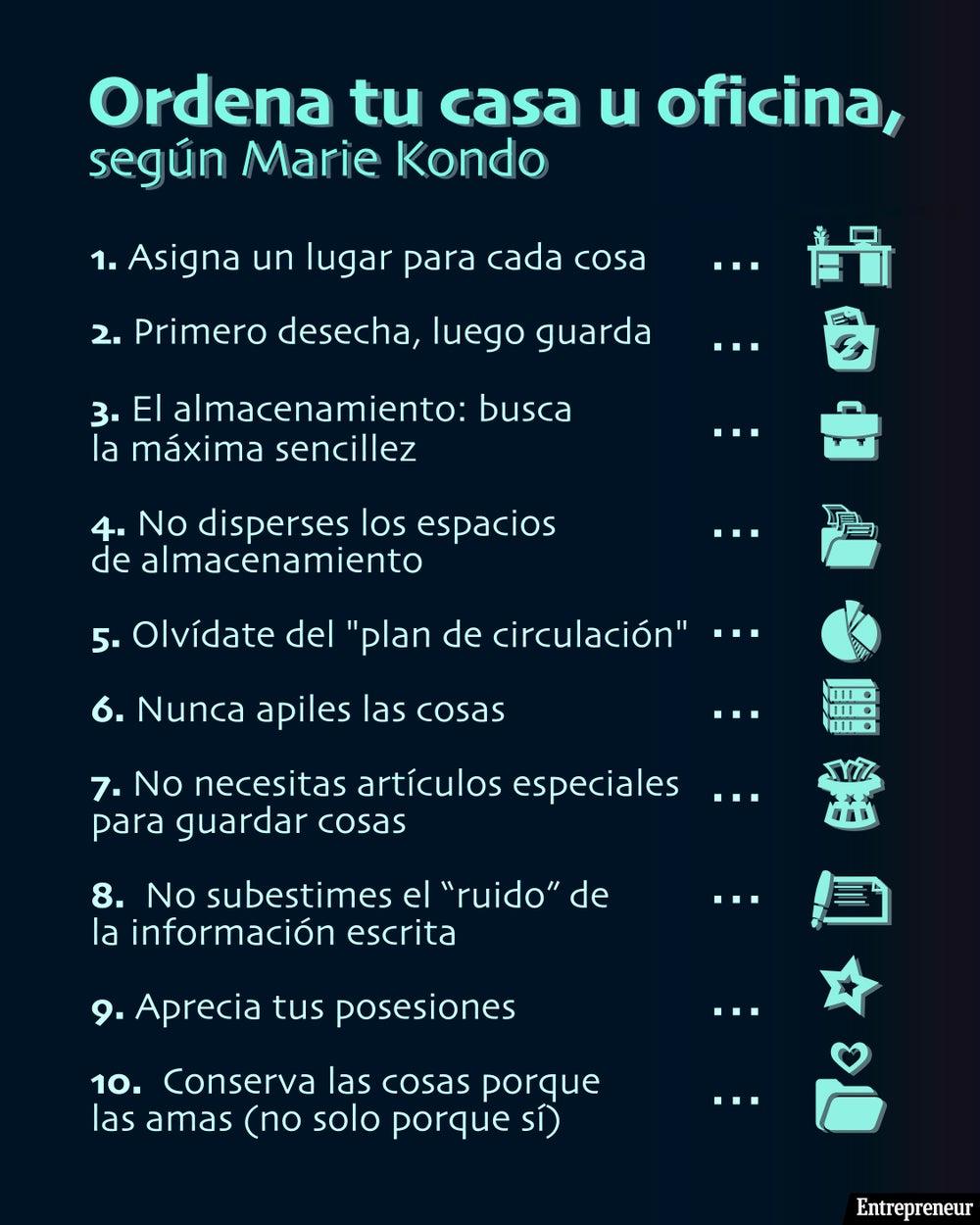 Con información del libro: La Magia del Orden, de Marie Kondo.