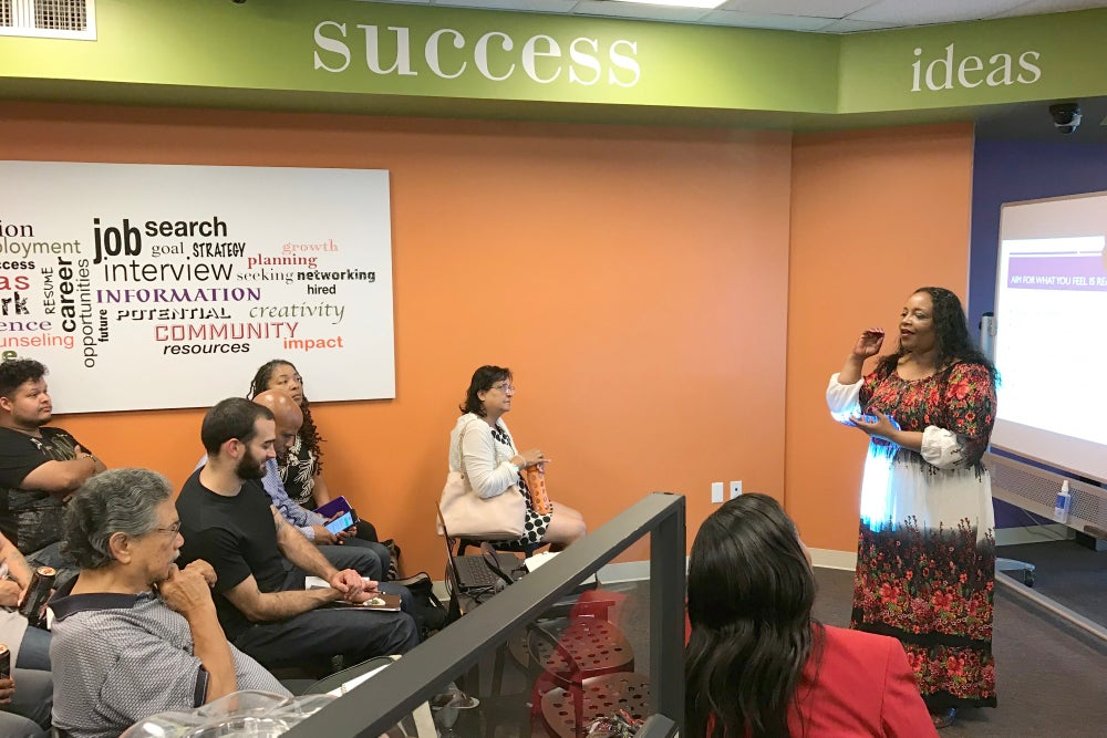 Angela White teaching a past workshop at Success Centers. Photo courtesy of Success Centers.