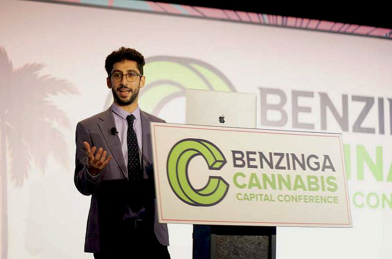 Javier Hasse speaking at the Benzinga Cannabis Capital Conference in Miami, Florida.